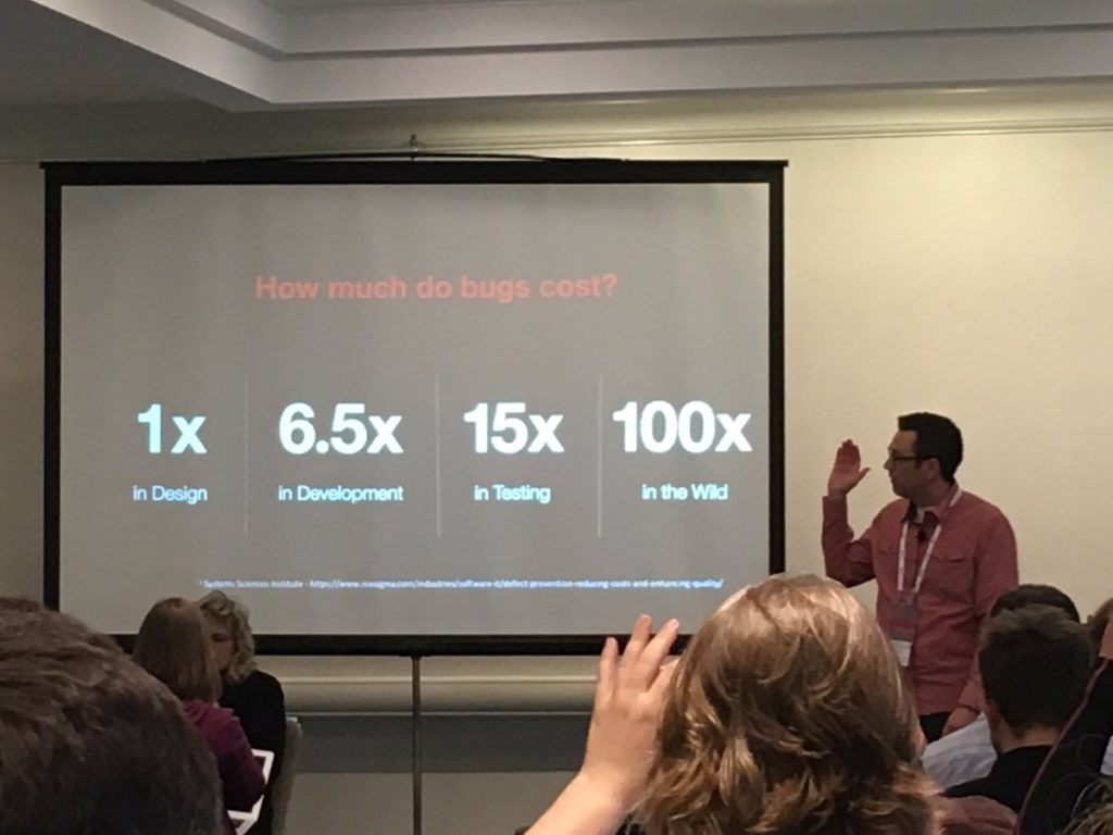 Target presenter explaining cost of accessibility bugs in the wild; 1x in design, 6.5x in development, 15x in testing, 100x in the wild